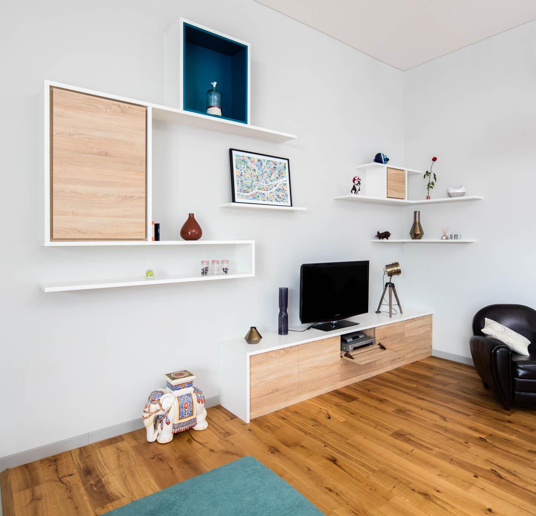 meuble-sur-mesure meuble TV avec niche bleue