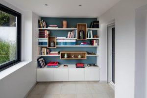 bibliotheque blanche niche bois chene clair