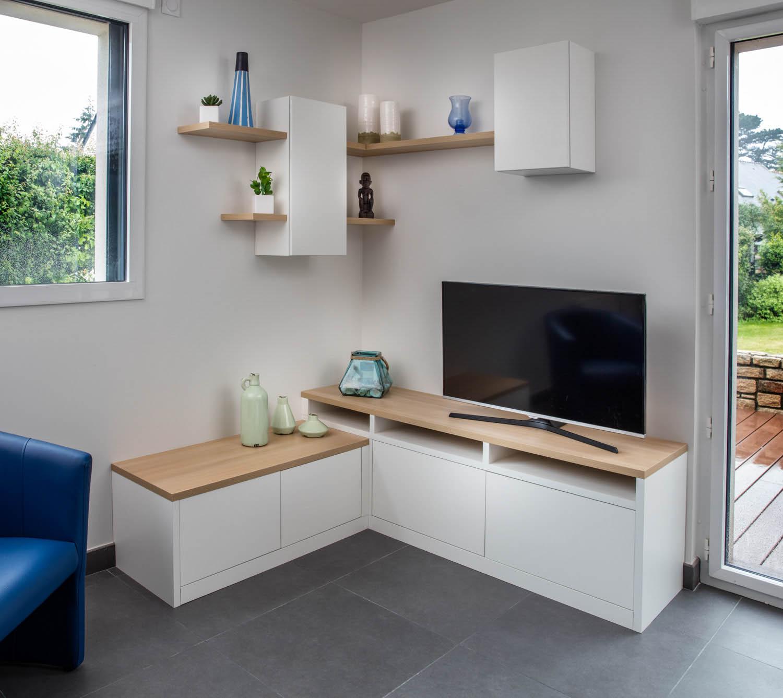 un meuble d angle pour tv et rangement compagnie des ateliers