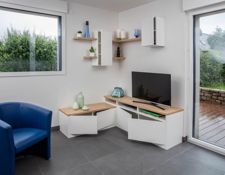 un meuble d angle pour tv et rangement compagnie des ateliers. Black Bedroom Furniture Sets. Home Design Ideas