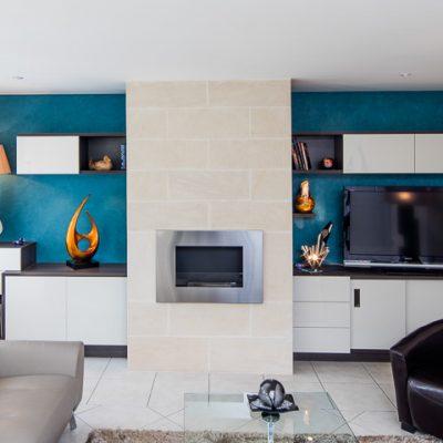 meuble tv biliothèque rangement cheminée éthanol - vue de face