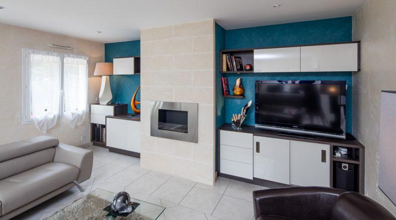 meuble tv biliothèque rangement cheminée éthanol