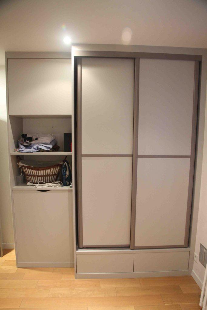 Placard gris et meuble de rangement compagniedesateliers - Meuble de rangement gris ...
