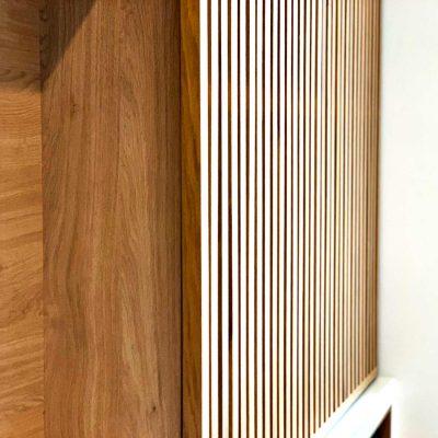 Meuble TV portes coulissantes avec tasseaux - détail tasseaux