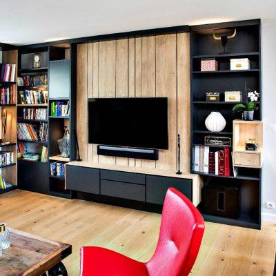 Bibliothèque TV gris lambris effet bois clair - vue de droite