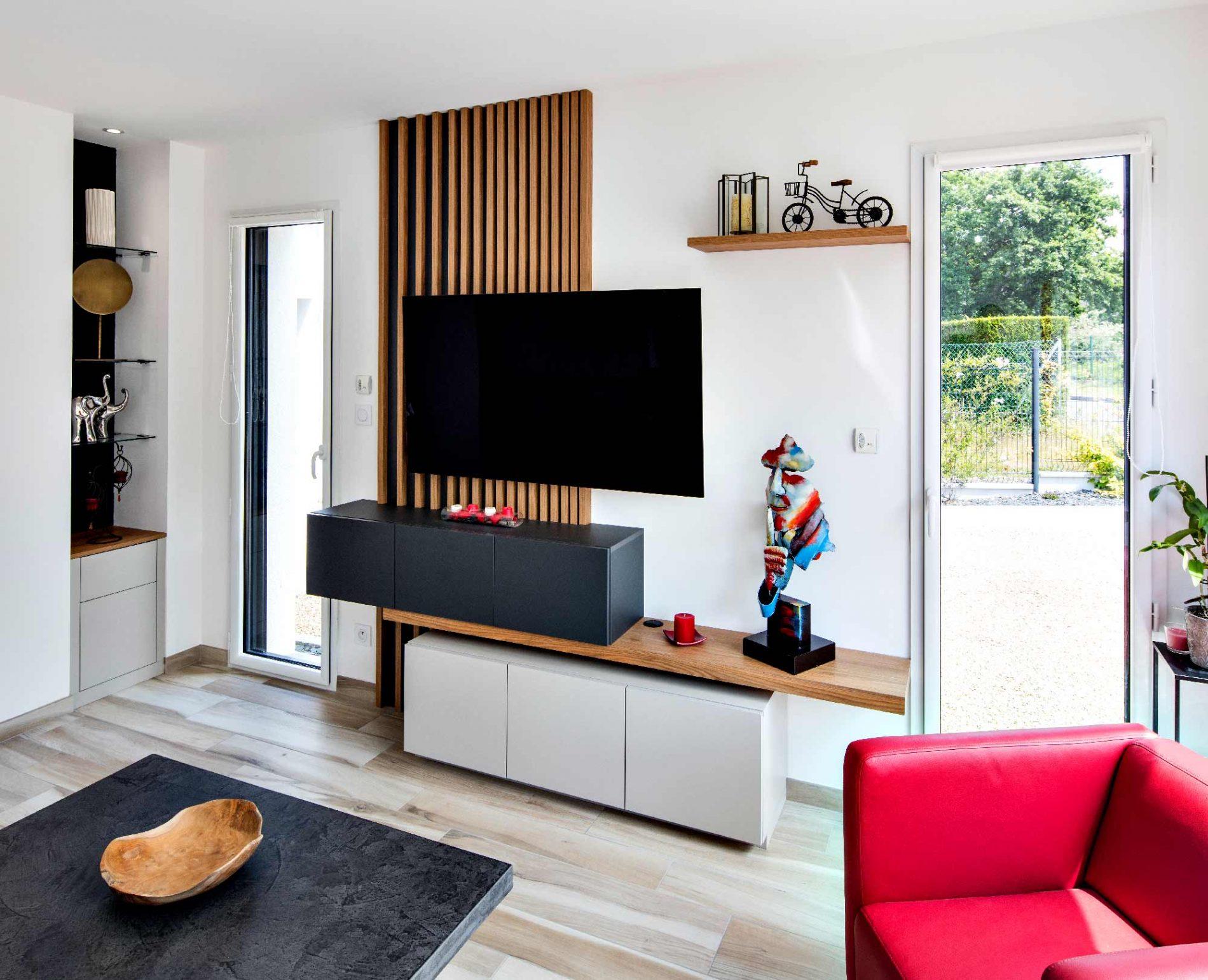 Meuble TV tasseaux asymétriques - vue de droite