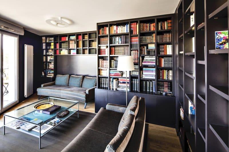 bibliothèque sur-mesure noire