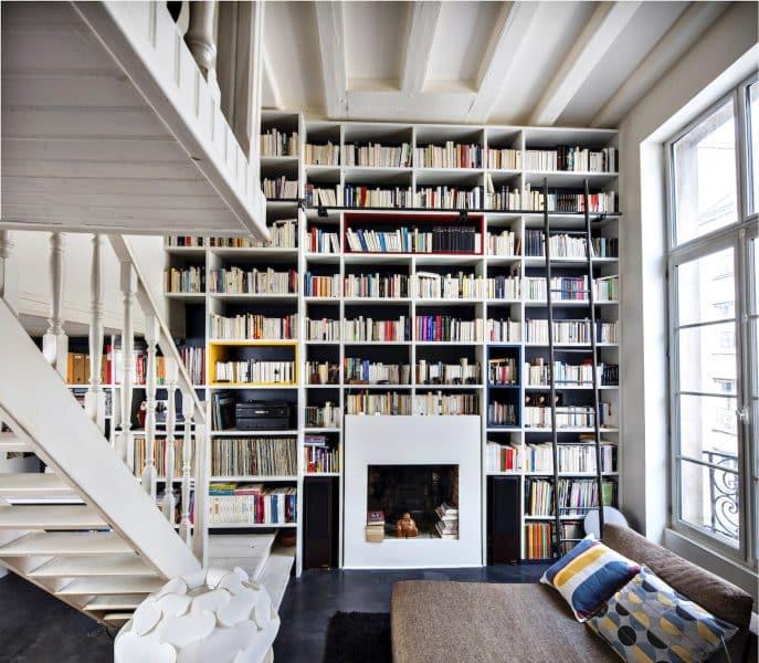 bibliothèque blanche sur-mesure