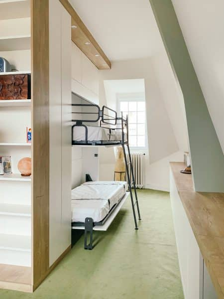 lits superposés rabattable ouvert