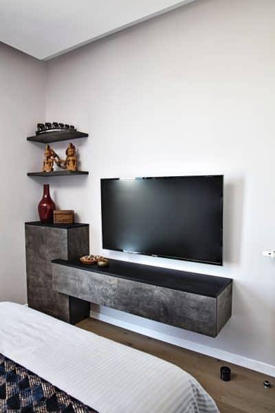 meuble TV design noir et gris foncé