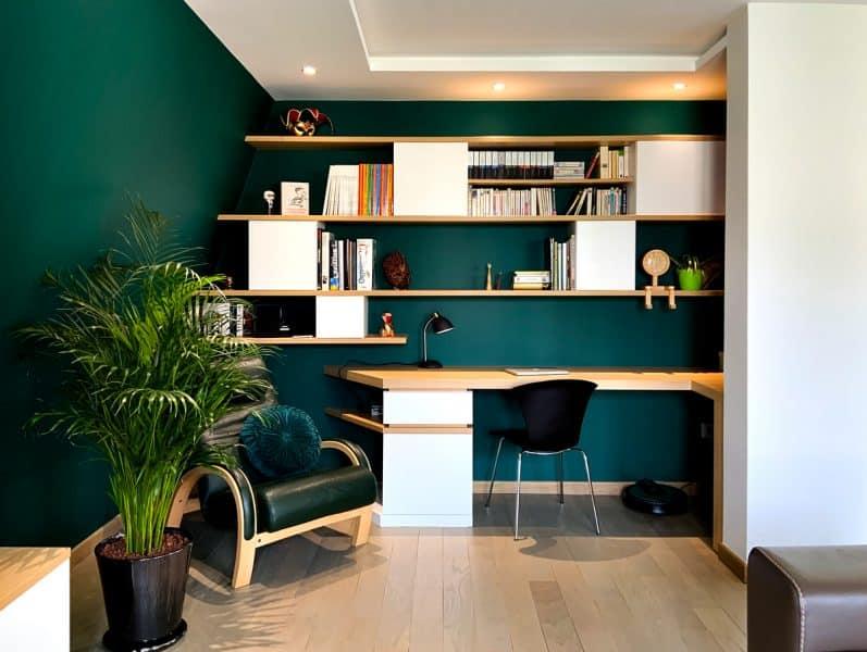 Sous-pente bureau tendance vert